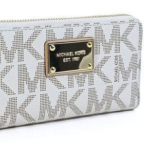 Michael Kors Jet Set Silver MK Logo Wallet